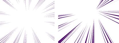 稀疏集中线效果图(左)/浓密集中线(指定曲线)效果图(右)