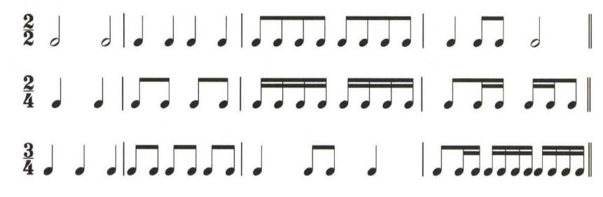 单拍子简单组合音群示例