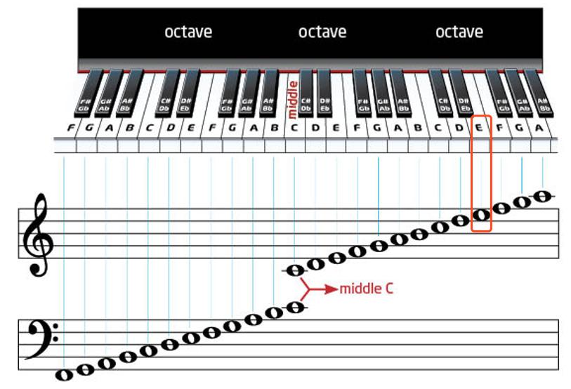 第四间的E在钢琴上的位置