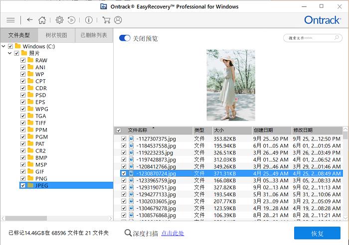 EasyeRcovery照片恢復格式分類及照片預覽