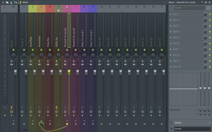 Reverb for vocal1的连接设置(7、8、9轨同理)