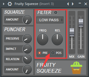 Fruity Squeeze的滤波器部分