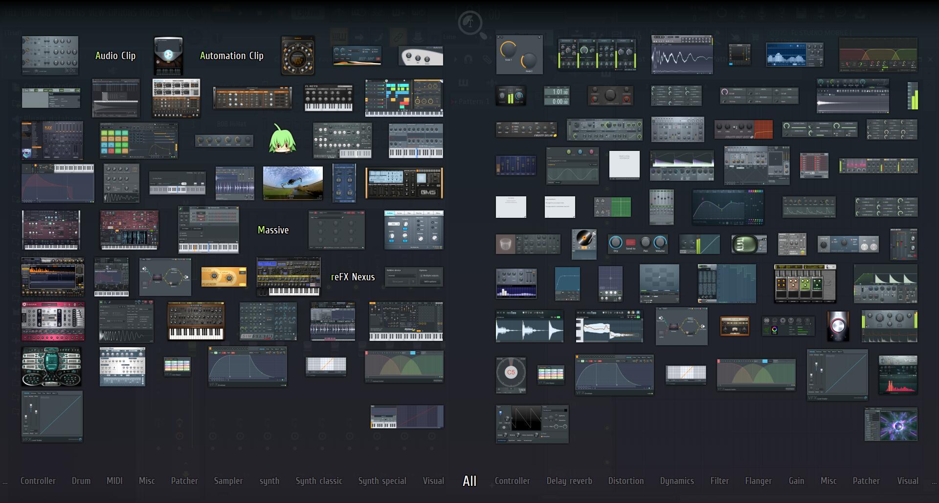 FL Studio中各式各样的发生器和效果器