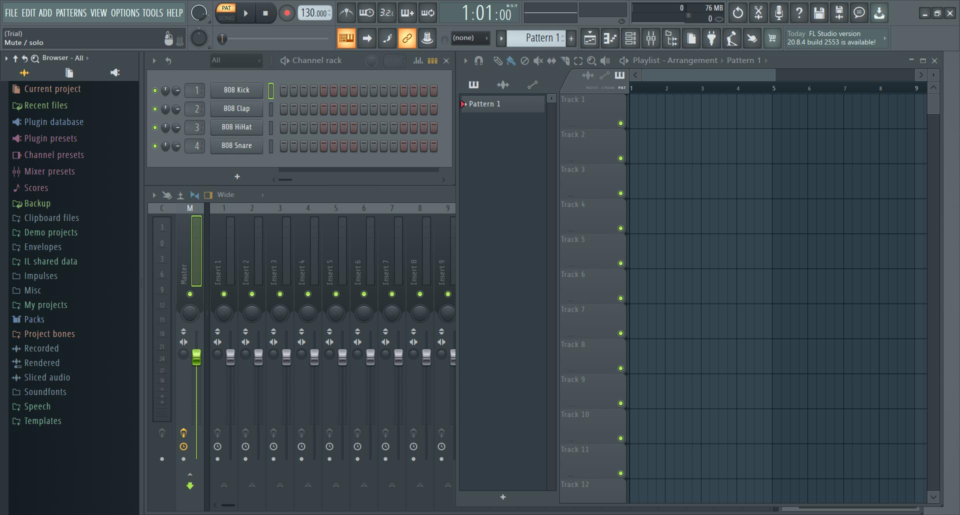 FL Studio的主界面