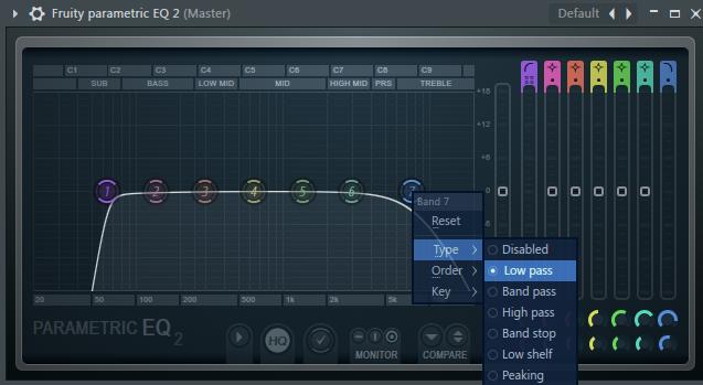 Low pass Band 7并左右调节Band 1和 Band 7
