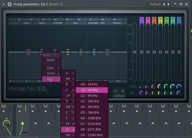 使用均衡器找G鼓的主要频率范围