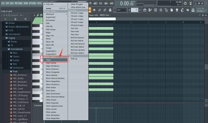 在MIDI Out中加载Major音阶