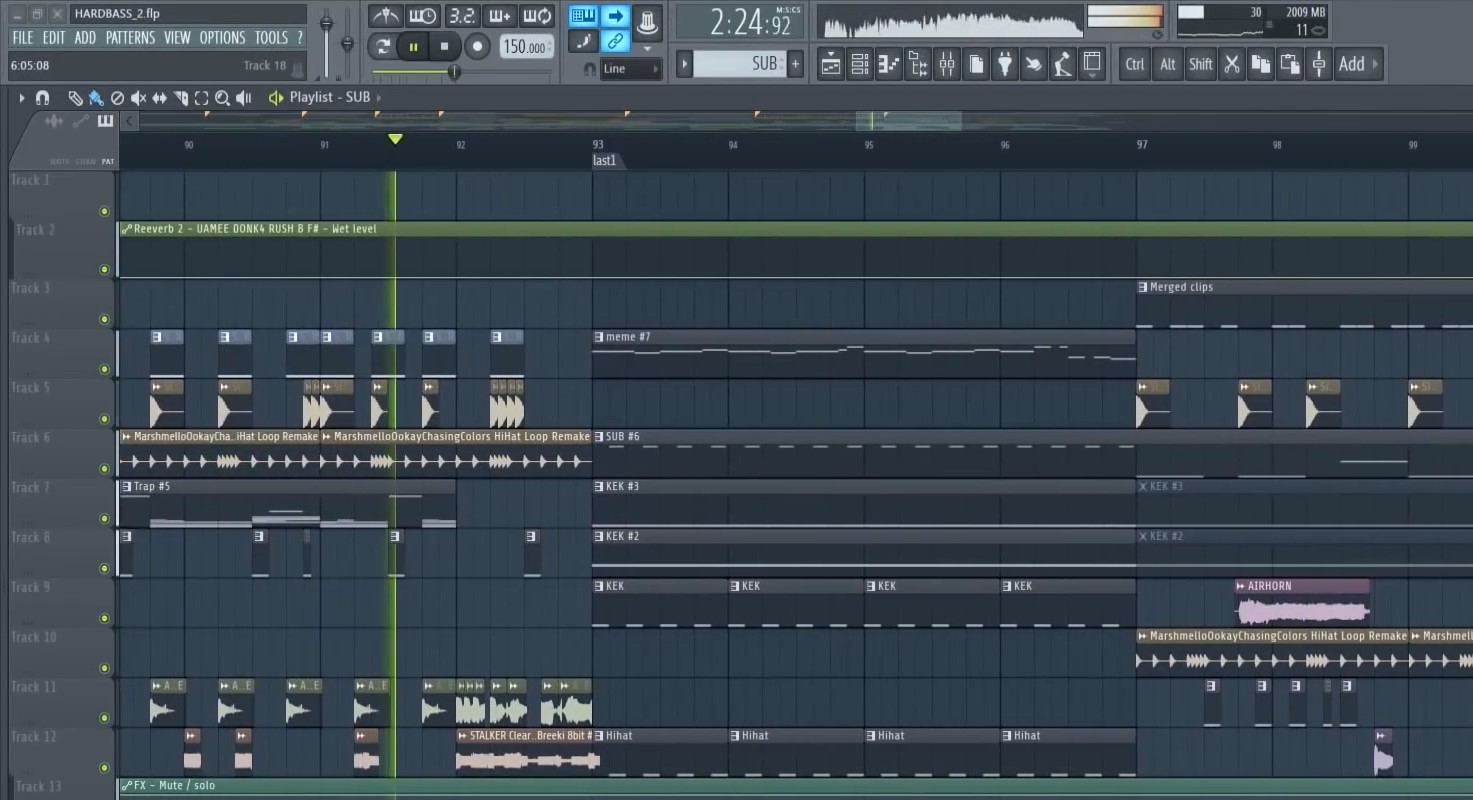 FL Studio的音轨界面
