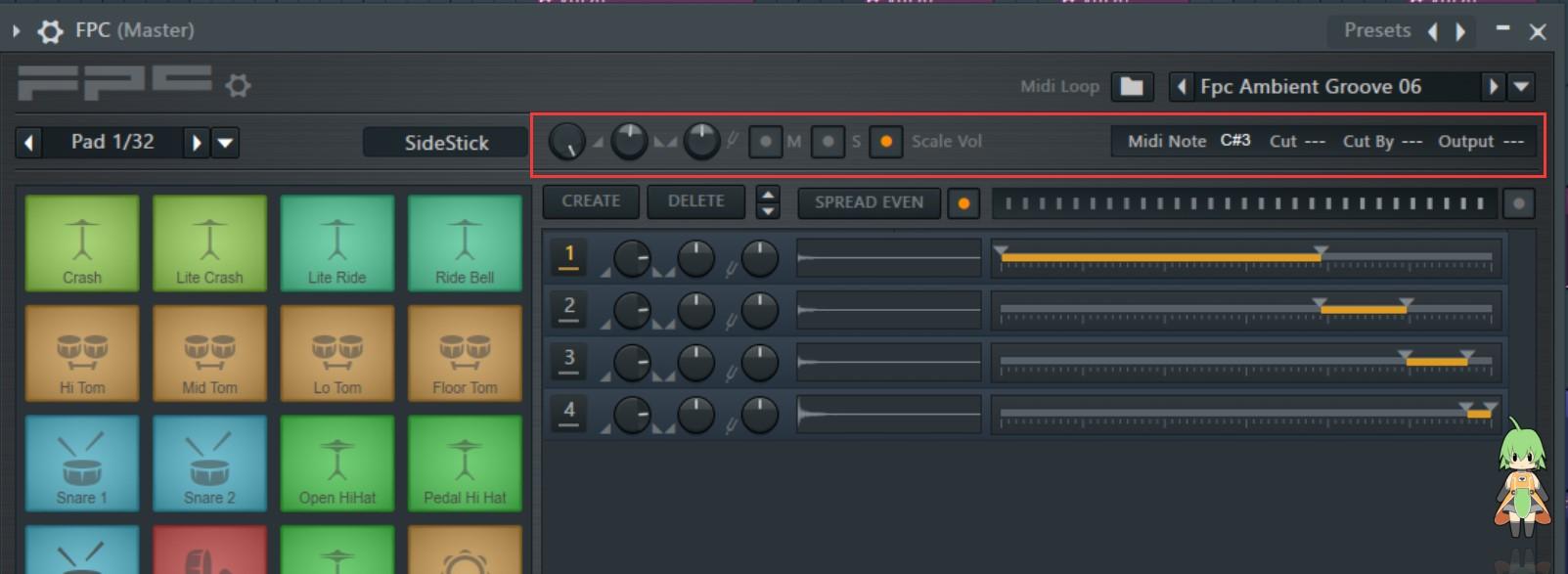 FL Studio FPC鼓机工具栏