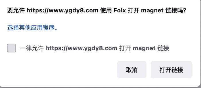 图1使用Folx打开链接的提示窗口