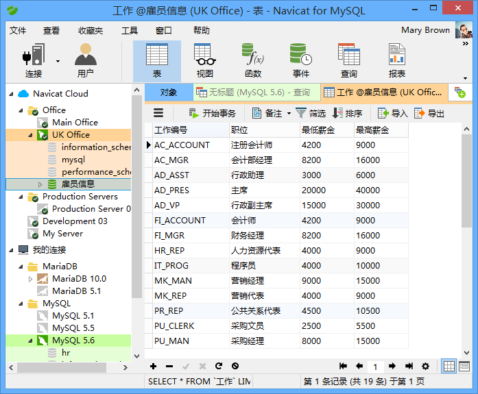 Navicat Windows 视图