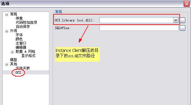 Instance Client的oci.dll路径