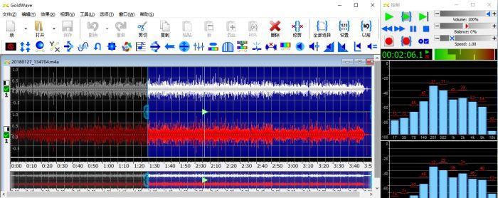 图3:GoldWave中查看频谱图,条形图,波形