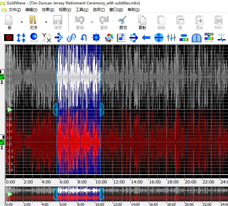 图片3:在GoldWave中选好要调节音量的部分