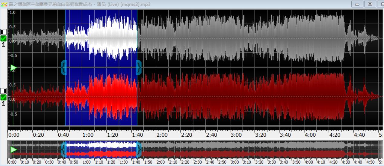 图片三:选用某一段音频的音波显示