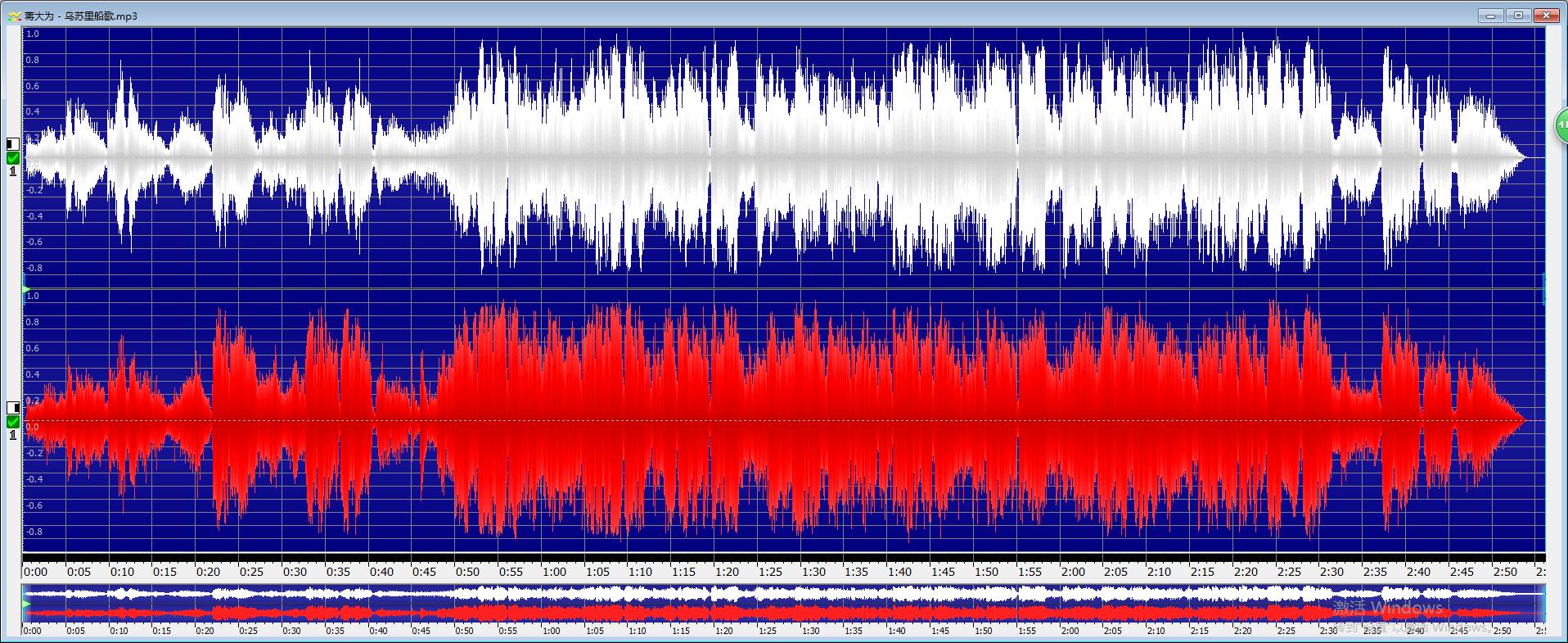 圖一:GoldWave中文版音頻波形的展示