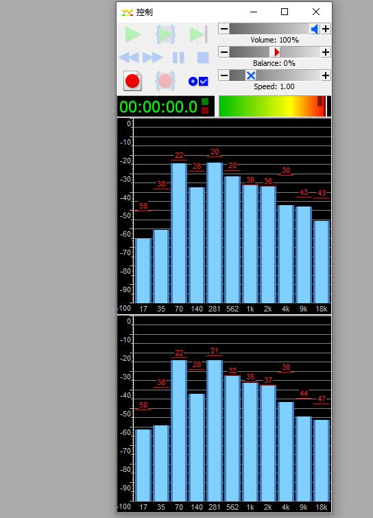 圖四:GoldWave中文版未播放/錄制音頻時控制窗口內的波形律動界面