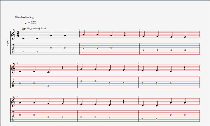 变成四三拍的乐谱