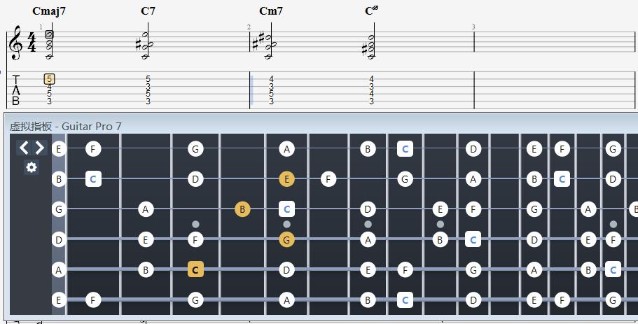 1573模式下的Cmaj7和弦指法