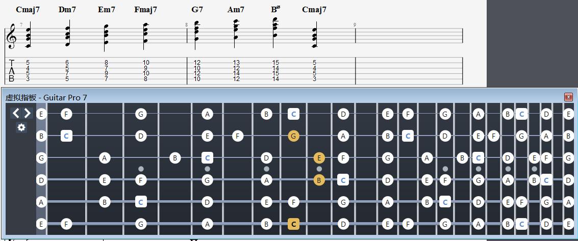 1573模式下的C自然音阶级数和弦练习