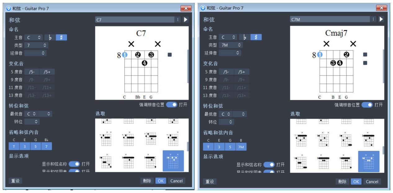 1735模式下C7和弦及Cmaj7和弦