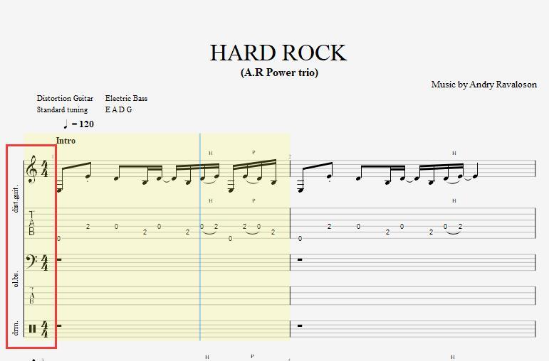 多音轨模式乐谱界面