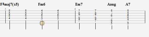《樱花纷飞时》主歌tab谱第5、6小节