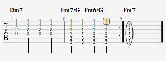 《樱花纷飞时》主歌tab谱第7、8小节