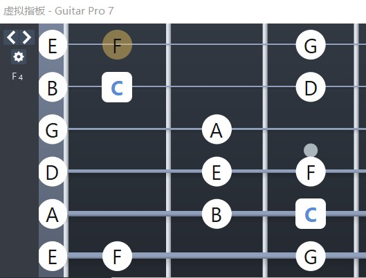 Guitar Pro吉他C大调指板