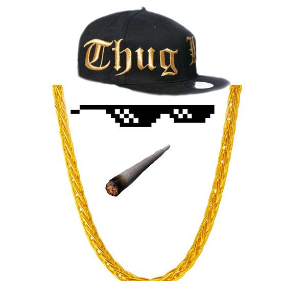 帽子墨镜项链