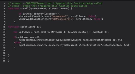 编写鼠标滚轮切换场景JavaScript函数