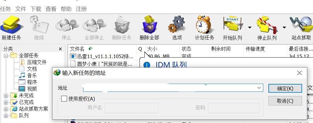 图1:IDM的新建任务功能