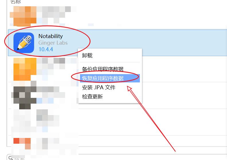 图7:恢复Notability数据