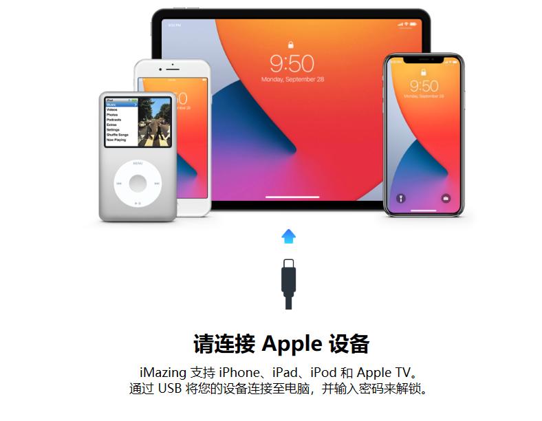 图2:将iMazing与iOS设备进行连接