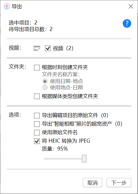 图5:导出选项设置