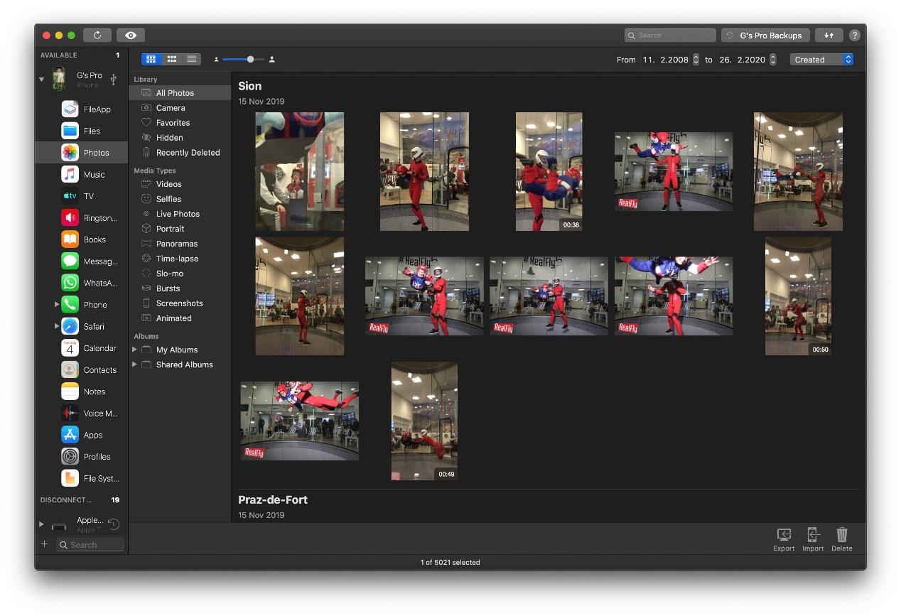 iMazing照片部分,瞬间视图