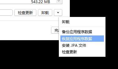 恢复应用程序数据
