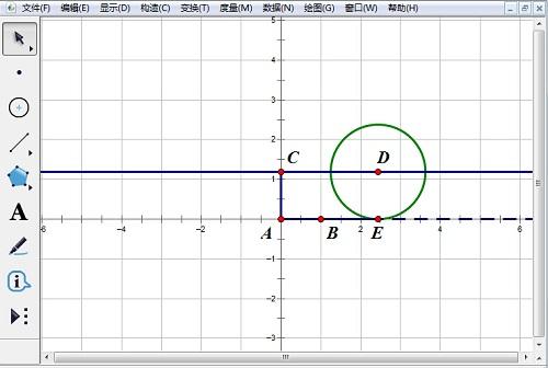 构造线段AC并构造圆D