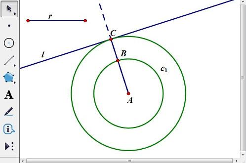 以線段r為半徑畫圓