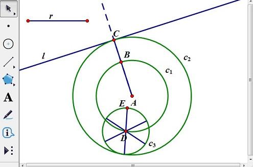 以線段CB為半徑畫圓