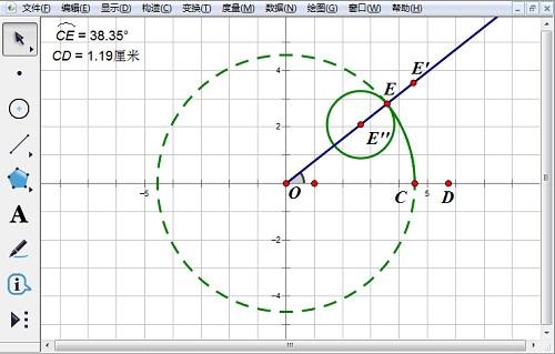 旋转点E'得到E''并构造圆E''