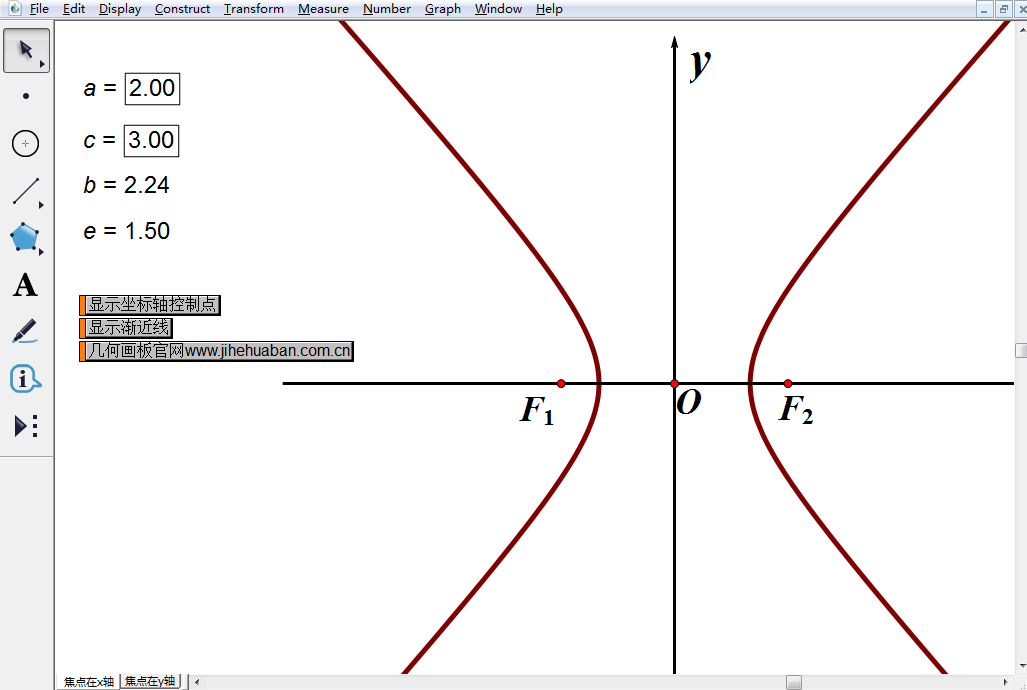 焦点在x轴上