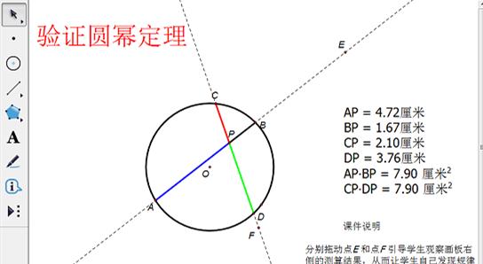 幾何畫板驗證圓冪定理