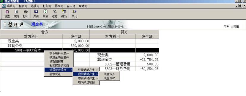 指定现金流量项目