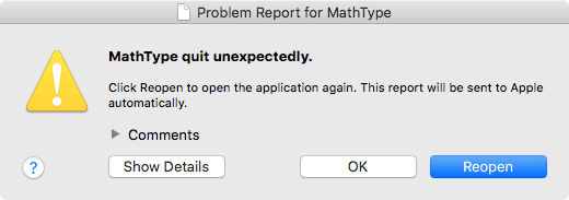 图2:MathType崩溃