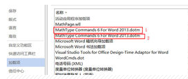 "两个""MathType Commands 6 For Word 2013""的加载项界面"
