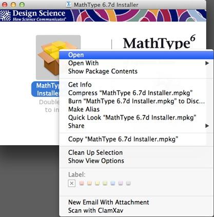 MathType关联菜单