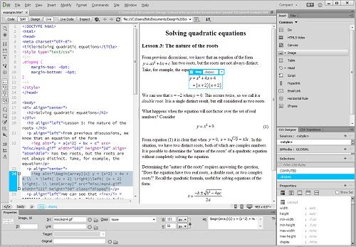 Dreamweaver 2014 CC添加公式示例