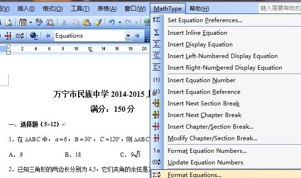 点击MathType——Format Equations