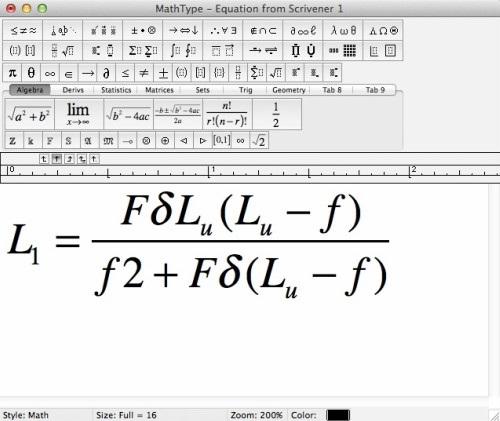 MathType公式出现在文档中